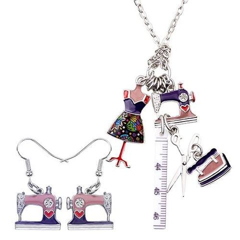 Retro Sewing Tool Necklace - Purple - Pendants