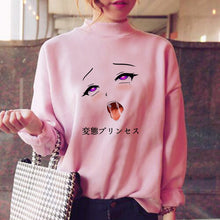 Load image into Gallery viewer, Ahegao Style Pink Sweatshirt