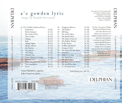 A'e gowden lyric: songs by Ronald Stevenson CD Delphian Records