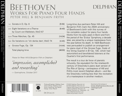 Beethoven: Works For Piano Four Hands CD Delphian Records