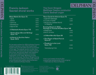 Francis Jackson: Sacred Choral Works CD Delphian Records