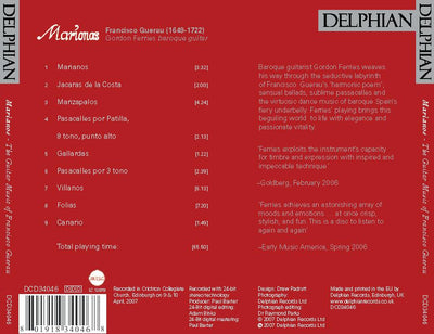 Francisco Guerau: Marionas CD Delphian Records