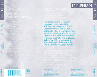 Gabriel Jackson: Sacred Choral Works CD Delphian Records