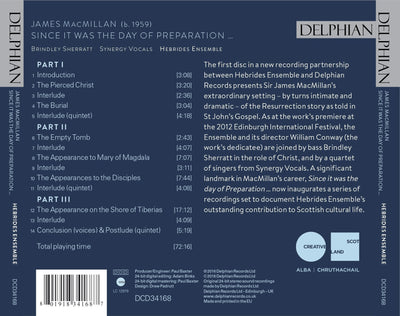 James MacMillan: Since it was the day of Preparation … CD Delphian Records