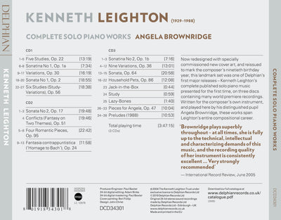 Kenneth Leighton: Complete Solo Piano Works CD Delphian Records
