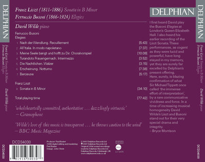 Liszt: Sonata in B minor / Busoni: Elegies CD Delphian Records