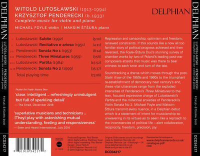 Lutuslawski | Penderecki: Complete Music for Violin and Piano CD Delphian Records