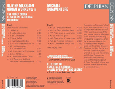 Messiaen: Organ Works Vol III CD Delphian Records