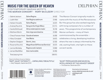 Music for the Queen of Heaven: contemporary Marian motets CD Delphian Records