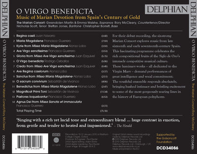 O Virgo Benedicta: Music of Marian Devotion from Spain's Century of Gold CD Delphian Records