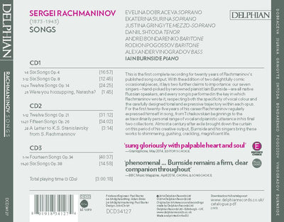 Rachmaninov: Songs (3 CDs) CD Delphian Records