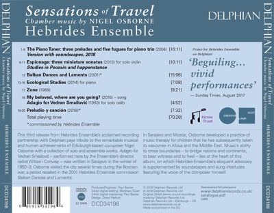 Sensations of Travel: Chamber Music by Nigel Osborne CD Delphian Records