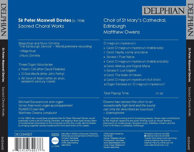 Sir Peter Maxwell Davies: Sacred Choral Works CD Delphian Records