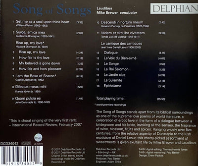 Song of Songs CD Delphian Records