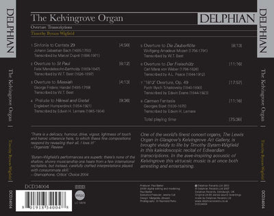 The Kelvingrove Organ: Overture Transcriptions CD Delphian Records