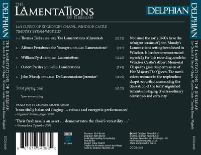 The Lamentations of Jeremiah CD Delphian Records