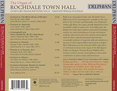 The Organ of Rochdale Town Hall (Overture Transcriptions Vol II) CD Delphian Records
