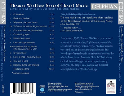 Weelkes: Sacred Choral Music CD Delphian Records