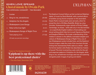 When Love Speaks: Choral Music by Owain Park CD Delphian Records