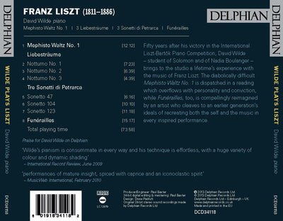 Wilde plays Liszt CD Delphian Records
