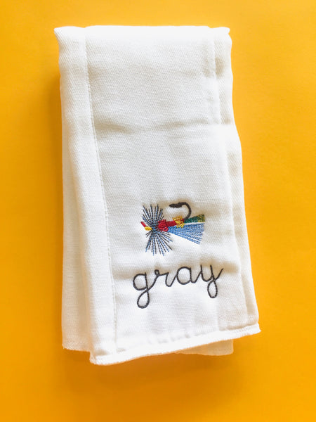 Monogram Burp Cloth - Flies (gray)