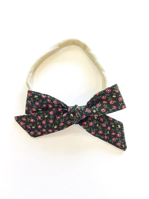 School Girl Headband - Black Floral