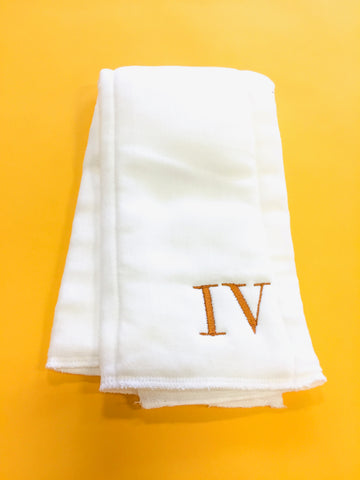 Monogram Burp Cloth - Roman Numerals (burnt orange)