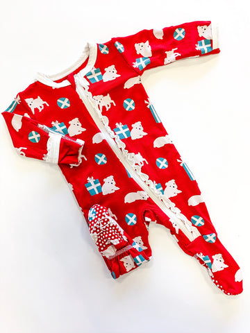 Print Ruffle Footie (Zipper) - Crimson Presents & Puppies