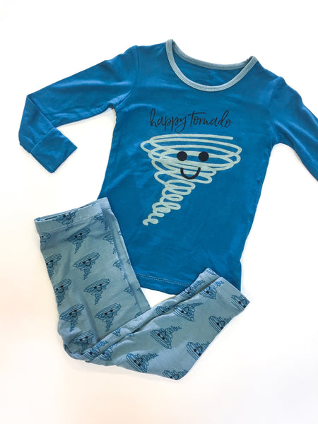 Long Sleeve PJ Set - Heritage Blue Happy Tornado