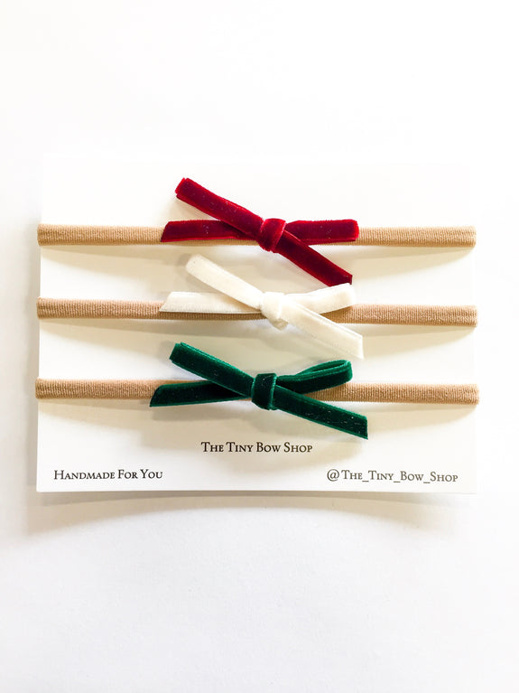 Itty Bitty Bow Set - Holiday Red, Cream, Green
