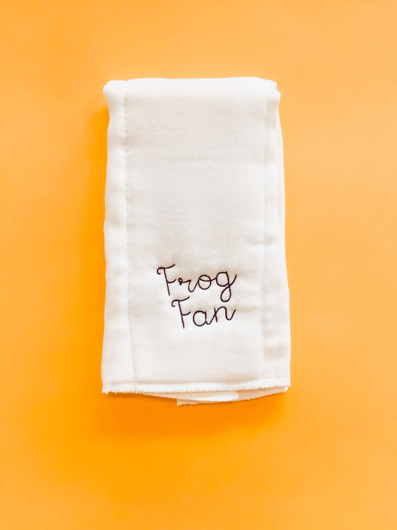 Embroidered Burp Cloth - Frog Fan