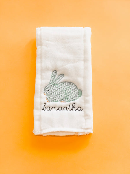 Monogram Burp Cloth - Blue Bunny + Name