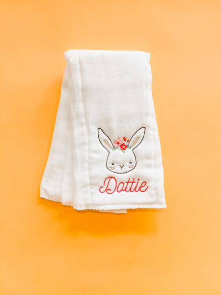 Monogram Burp Cloth - Bunny