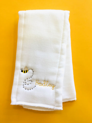 Monogram Burp Cloth - Buzzy Bee