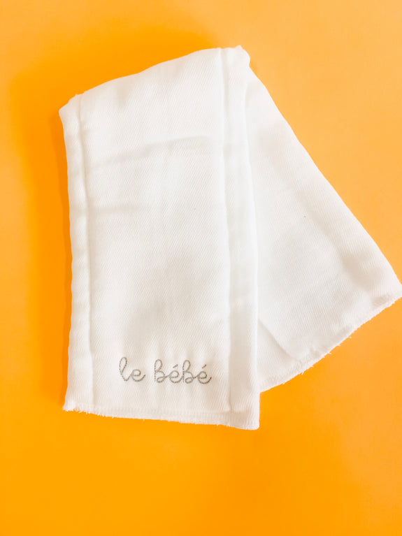 Embroidered Burp Cloth - le Bebe (gray)