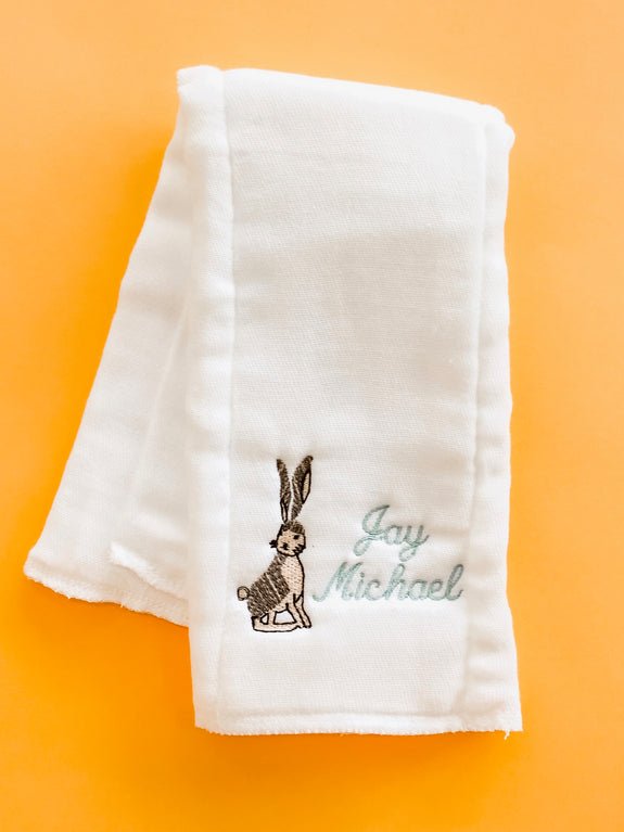 Monogram Burp Cloth - Bunny + Name
