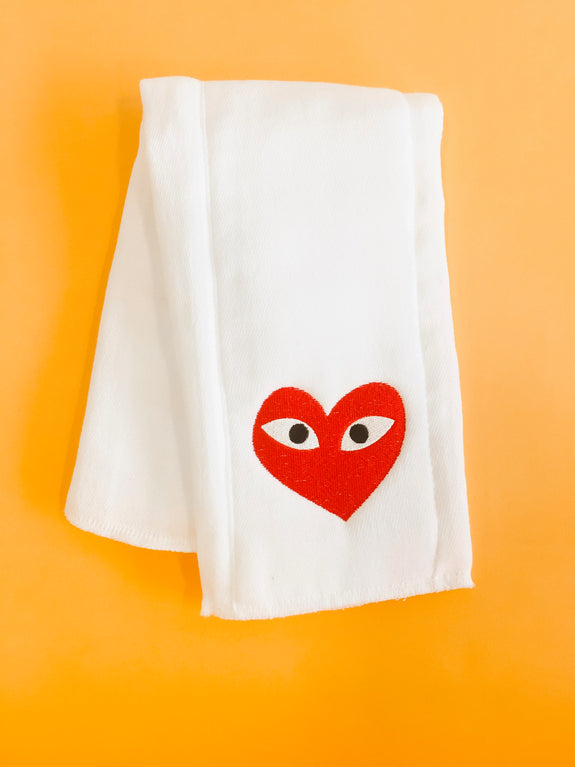 Embroidered Burp Cloth - Red Heart Eyes