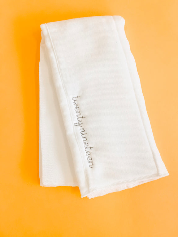 Embroidered Burp Cloth - Twenty Nineteen