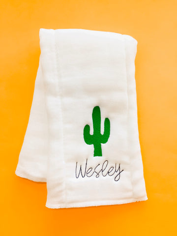 Monogram Burp Cloth - Cactus