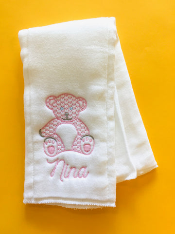 Monogram Burp Cloth - Bear (pink)