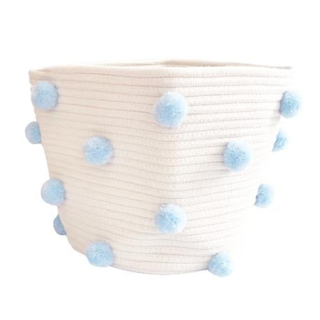Pom Pom Rope Basket - Blue