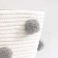 Pom Pom Rope Basket - Grey
