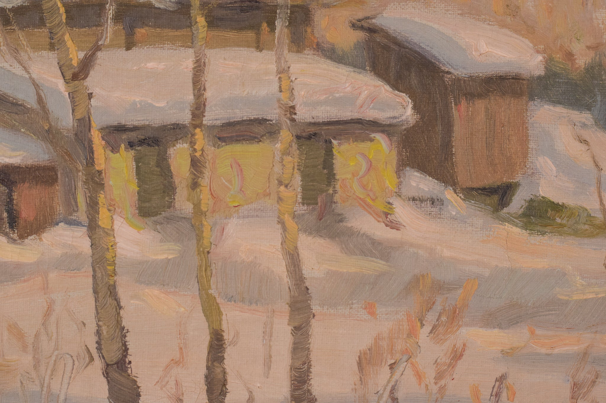 Post Impressionist Swedish Snowscape With Soft Golden Light