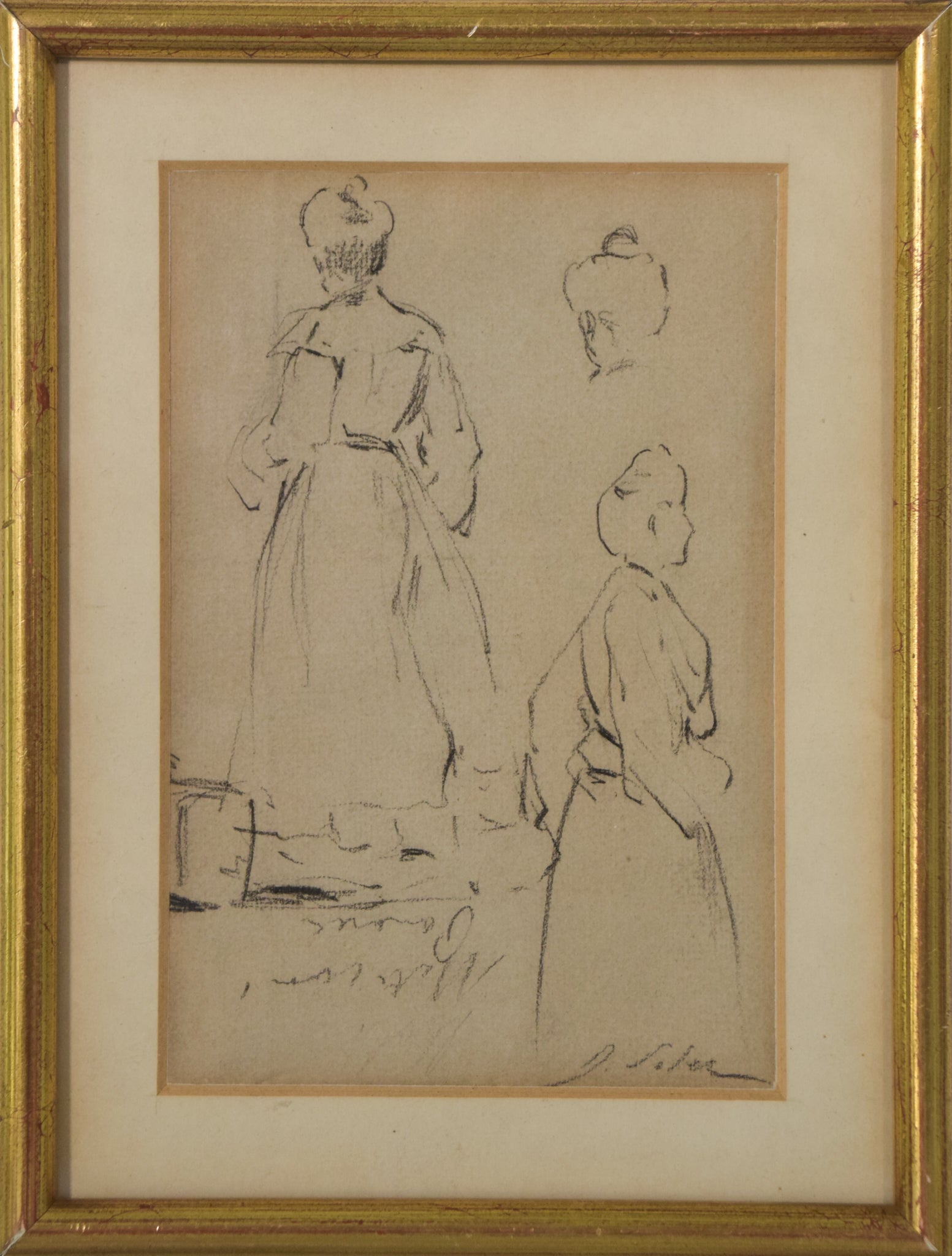 Double-sided sketches of Fin de siècle Ladies_Framed
