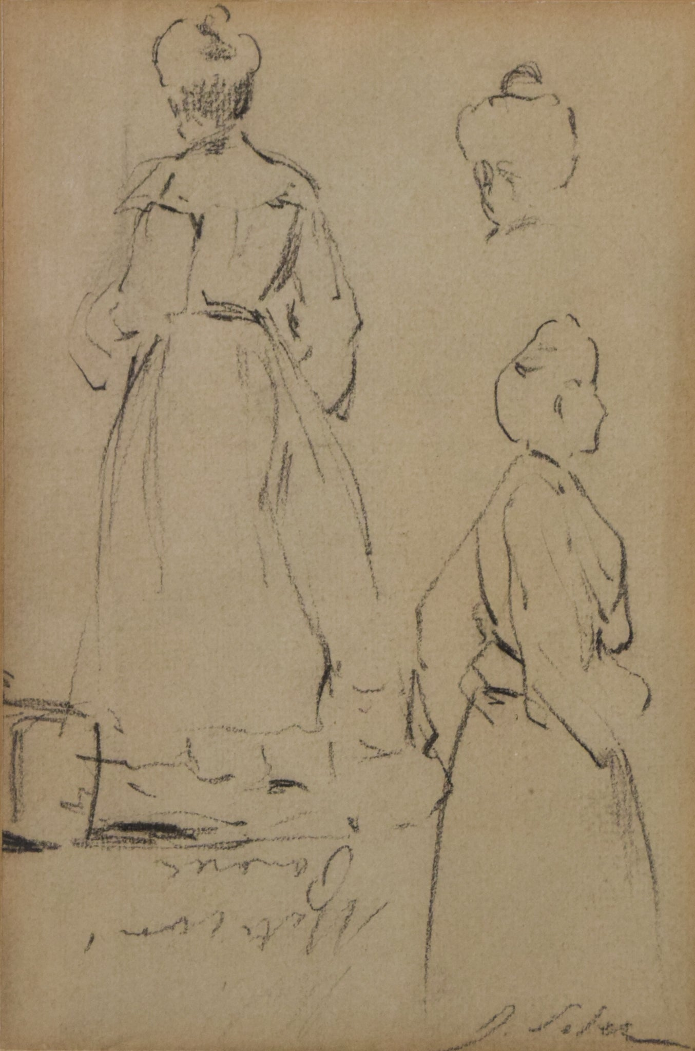 Double-sided sketches of Fin de siècle Ladies