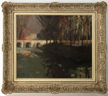 Load image into Gallery viewer, View of a Bridge and Trees at Dusk_Framed