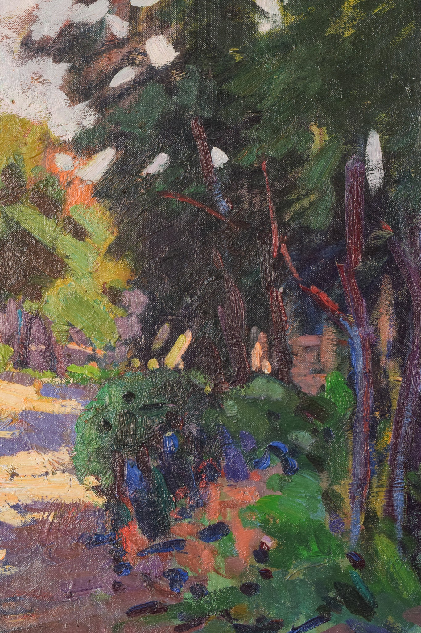 Post Impressionist Oil Painting of House with Trees. Light & Shade Study