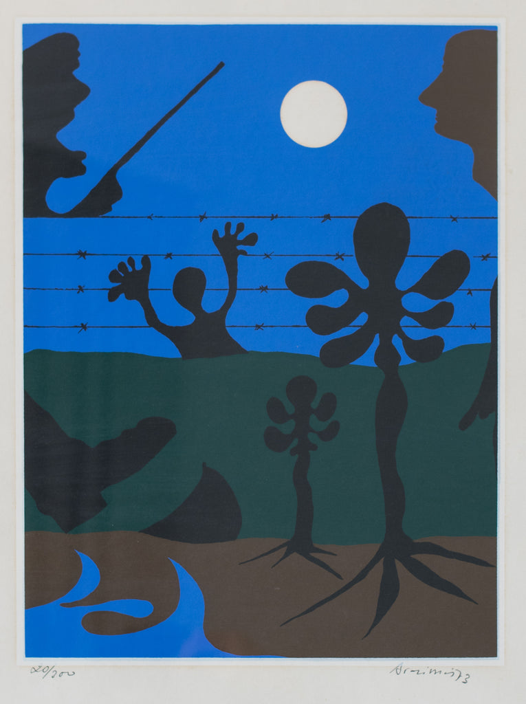 Moonlit scene with figure and guard in the manner of Joan Miró