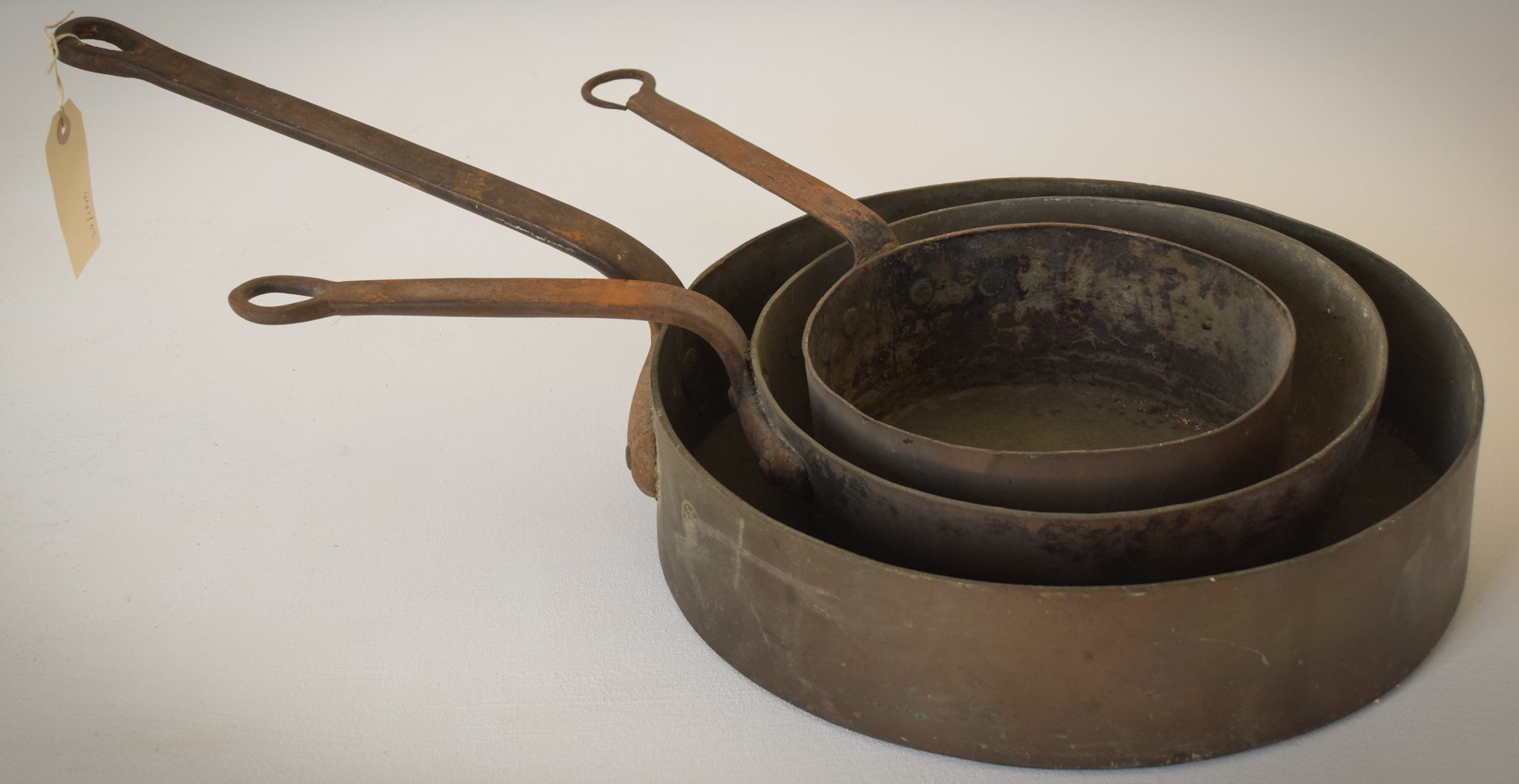 Three Unusual Antique Copper and Iron handled saucepans