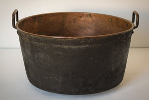 Large Decorative Handmade Riveted Copper Pot